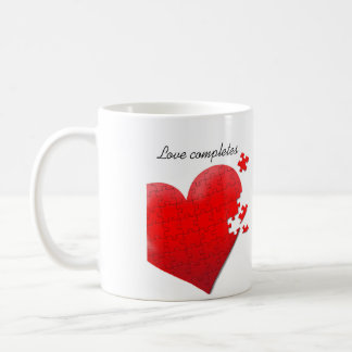 愛ハートのジグソーパズルのマグ コーヒーマグカップ