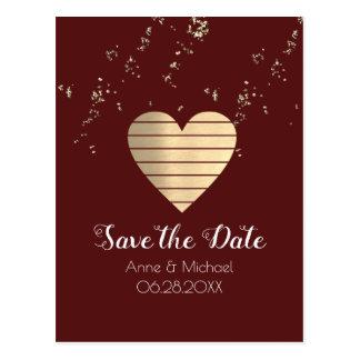 愛ハートのバーガンディの結婚式の郵便はがき ポストカード