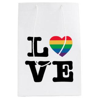愛ハートのプライドのギフトバッグ ミディアムペーパーバッグ