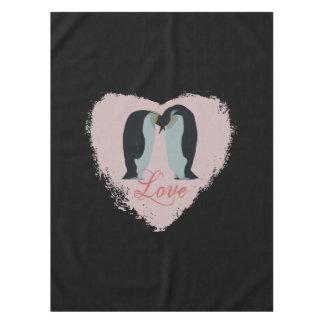 愛ハートのペンギン テーブルクロス