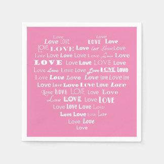 愛ハートの単語の雲-パステル調ピンクの白 スタンダードカクテルナプキン