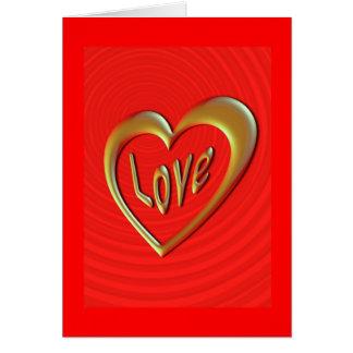 愛ハートの赤豪華な挨拶状 カード