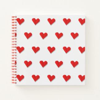 愛ハートのOrigamiパターンノート ノートブック