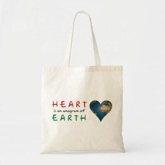 愛ハート形の地球 トートバッグ