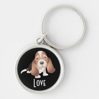 愛バセットハウンドの小犬のキーホルダー キーホルダー