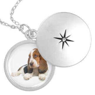 愛バセットハウンドの小犬のペンダントのネックレス ロケットネックレス