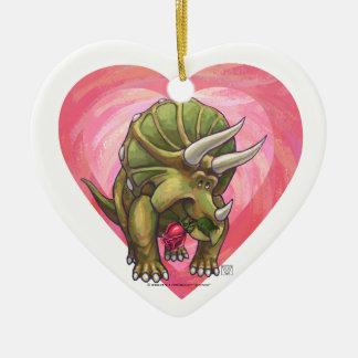 愛バレンタインデーのトリケラトプス セラミックオーナメント