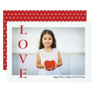 愛バレンタインデーの写真の平らな単にカード カード