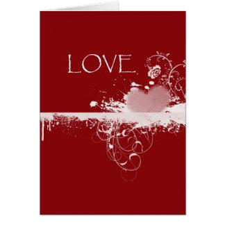 愛バレンタインデーの赤く白いハートのギフト カード
