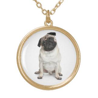 愛パグの小犬のペンダントのネックレス ゴールドプレートネックレス