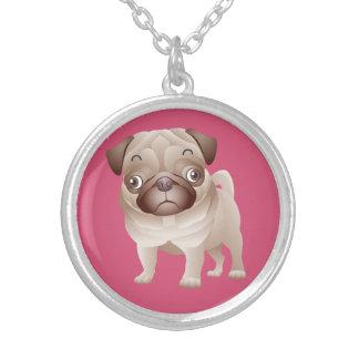 愛パグの小犬のペンダントのネックレス シルバープレートネックレス