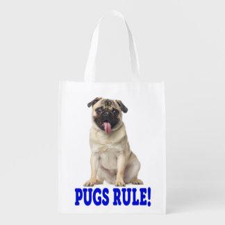 愛パグの小犬の食料雑貨 エコバッグ