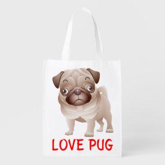 愛パグの小犬の食料雑貨Totebag エコバッグ