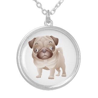 愛パグの漫画の小犬のペンダントのネックレス シルバープレートネックレス