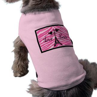 愛パリのピンクのシマウマのエッフェル塔のハートのプリント ペット服