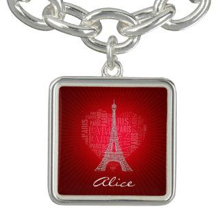 愛パリ の赤のヴィンテージのチャーム ブレス