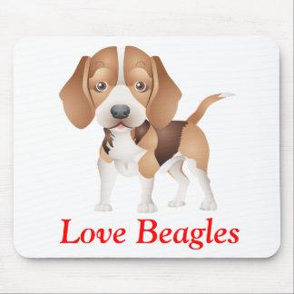 愛ビーグル犬の小犬の漫画のマウスパッド マウスパッド
