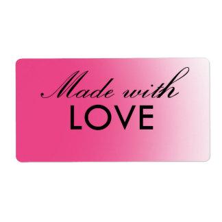 愛ピンクのカスタマイズ可能なラベルと作られる ラベル
