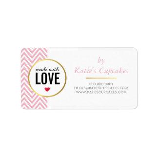 愛ピンクのシェブロンとなされるビジネス包装 宛名ラベル
