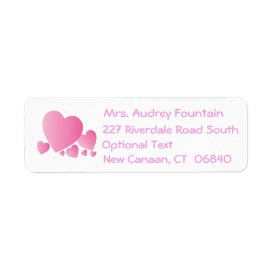 愛ピンクのハートの差出人住所ラベル 返信用宛名ラベル