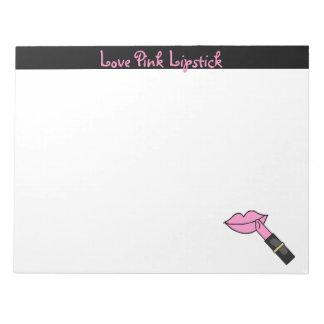愛ピンクの口紅のメモ帳 ノートパッド