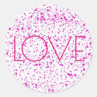 愛ピンクのDalmatianプリントのステッカー ラウンドシール