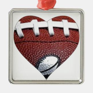 愛フットボール シルバーカラー正方形オーナメント