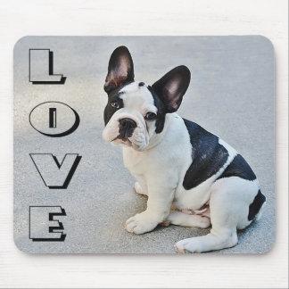 愛フレンチ・ブルドッグの白黒小犬 マウスパッド