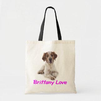 愛ブリッタニースパニエル犬の小犬のキャンバスのトートバック トートバッグ