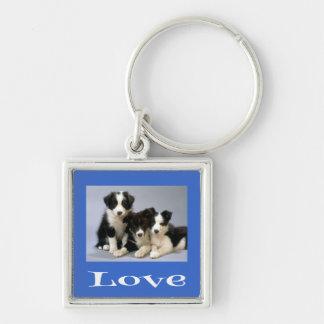 愛ボーダーコリーの子犬の青い犬Keychain キーホルダー