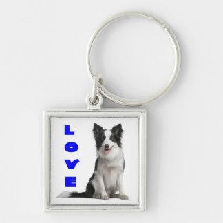 愛ボーダーコリーの小犬Keychain キーホルダー