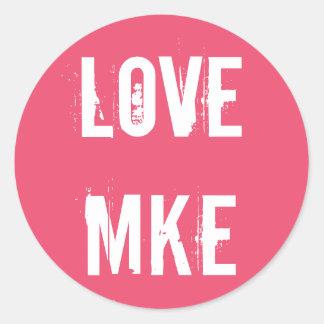 愛ミルウォーキー-愛MKE -ピンク ラウンドシール