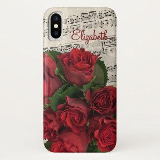 愛メロディーの赤いバラおよび名前 iPhone X ケース