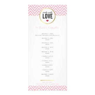 愛モダンなピンクのシェブロンとなされる値段表 ラックカード