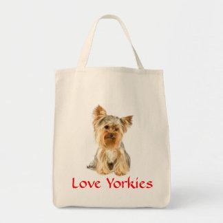 愛ヨークシャーテリアのヨークシャテリアの食料雑貨Totebag トートバッグ