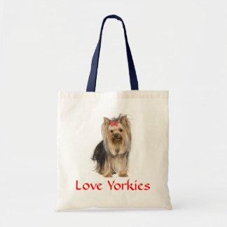 愛ヨークシャーテリアのヨークシャテリアのPupy犬Totebag トートバッグ