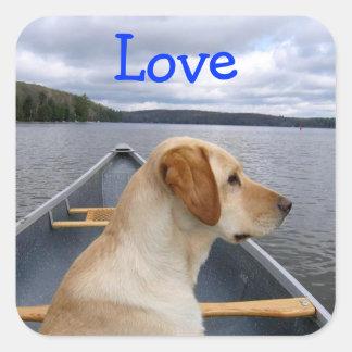 愛ラブラドル・レトリーバー犬の子犬のステッカー スクエアシール