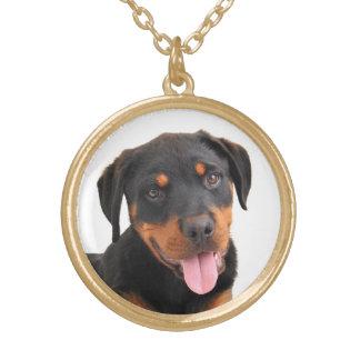 愛ロットワイラーの小犬のペンダントのネックレス ゴールドプレートネックレス