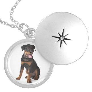愛ロットワイラーの小犬のペンダントのネックレス ロケットネックレス
