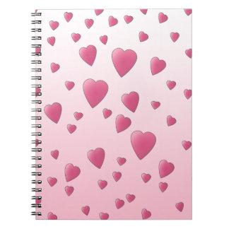愛中心のかわいらしいピンクパターン ノートブック