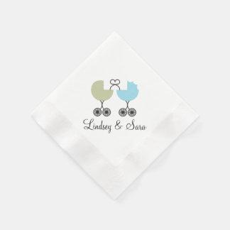愛乳母車の共同ベビーシャワーのナプキン、賢人または青 縁ありカクテルナプキン