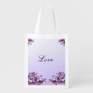 愛再使用可能なトートを結婚する薄紫 エコバッグ