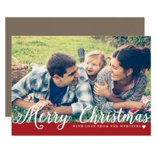 愛写真の休日の挨拶を用いるメリークリスマス カード