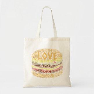 愛単語と図解入りの、写真付きのなハンバーガー トートバッグ