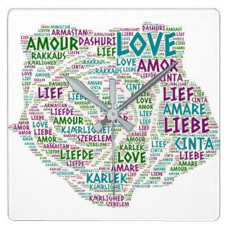 愛単語と図解入りの、写真付きの上がりました スクエア壁時計