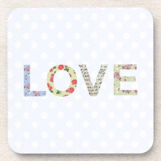 愛単語の芸術の水玉模様のコースター コースター