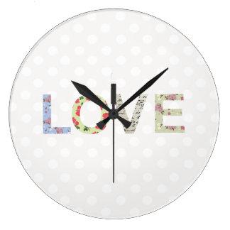 愛単語の芸術の水玉模様のロマンチックな柱時計 ラージ壁時計