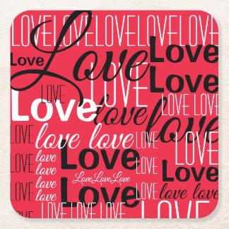 愛単語の芸術パターン スクエアペーパーコースター