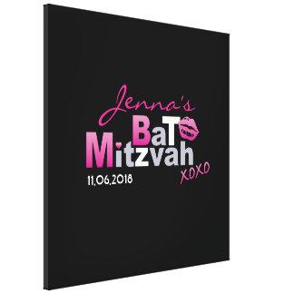 愛及びキスのショッキングピンクのバルミツワーのサインイン板 キャンバスプリント
