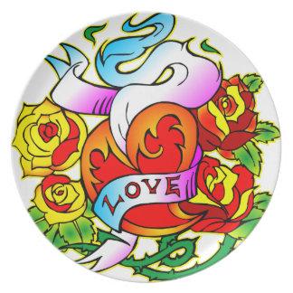 愛及びバラの入れ墨 プレート